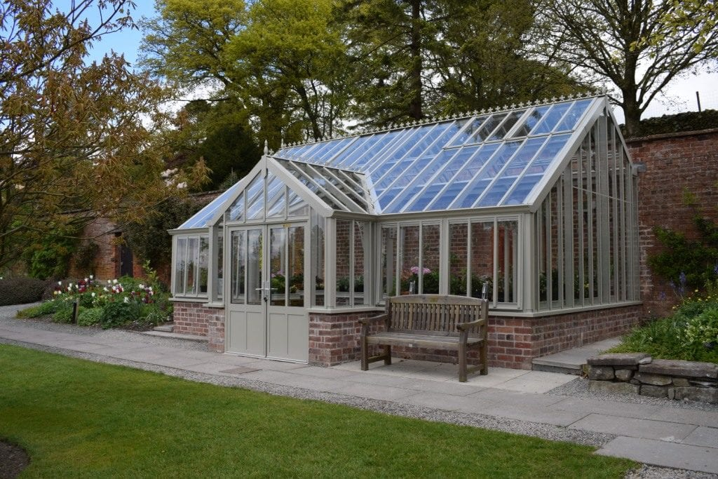 Traditional three quarter span greenhouse at Holehird Gardens.