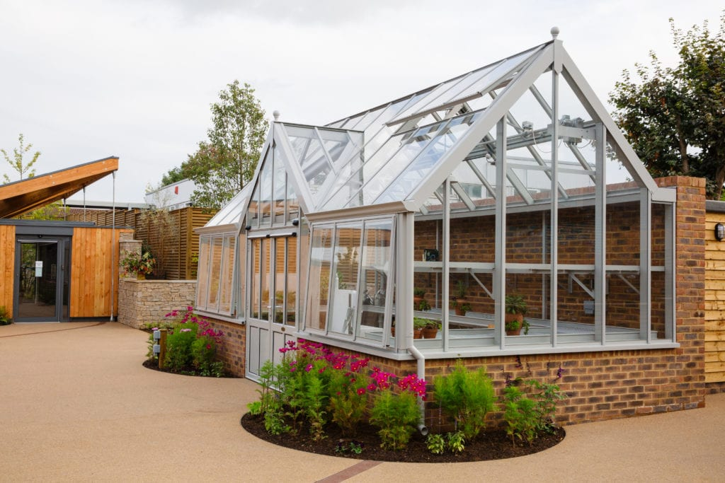 Wheelchair friendly greenhouse at Stoke Mandeville